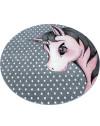 Kinderteppich Kinderzimmer Teppich Einhorn Muster Grau-Weiß-Pink