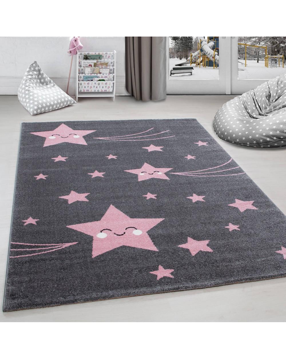 Kinderteppich Kinderzimmer Teppich Sterne Muster Grau-Pink Größe 80x150 cm
