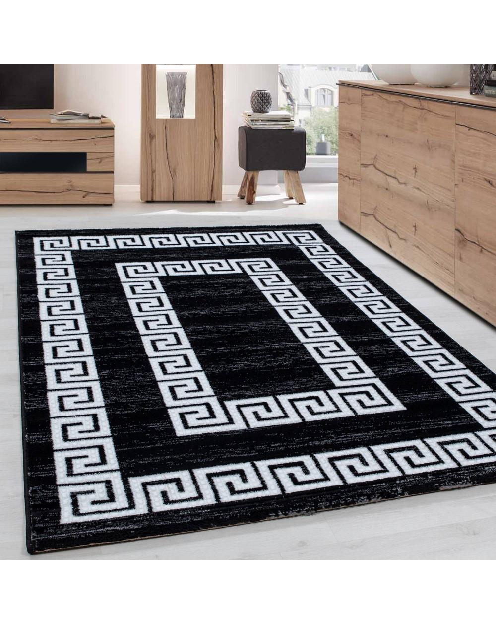 Teppich Modern Designer Wohnzimmer Bordüre Versace Muster Meliert Schwarz  Weiss Größe 80x150 cm