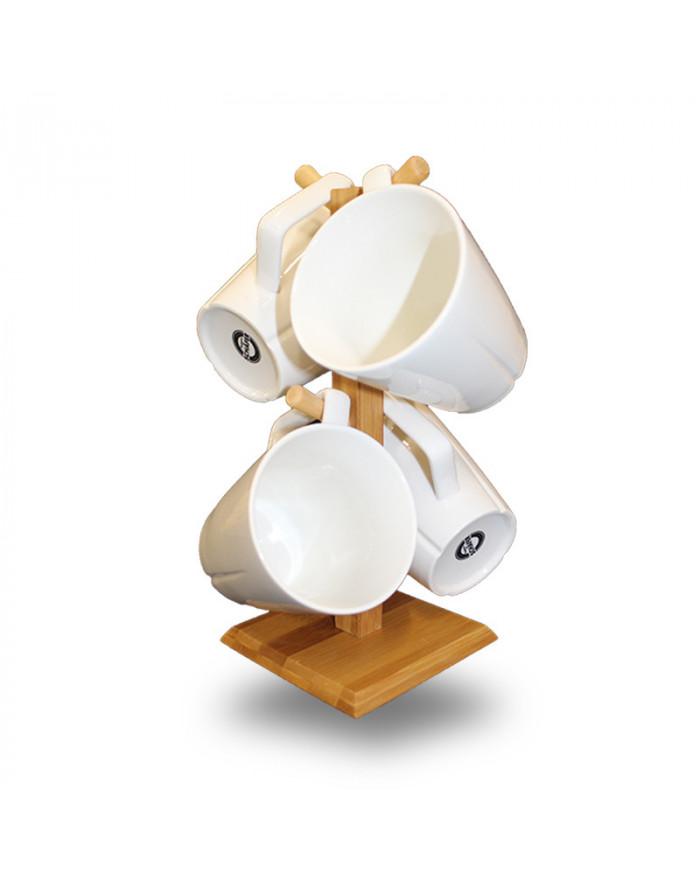 SYDNEY 4er Prozellan Tassen-Set + Bambus-Tassenbaum (5-tlg.)