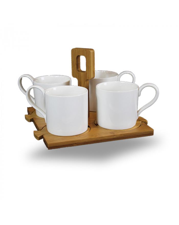 BELANA 4er Porzellan Tassen-Set + Bambus-Untersteller und Bambus-Serviertablett (9-tlg.)