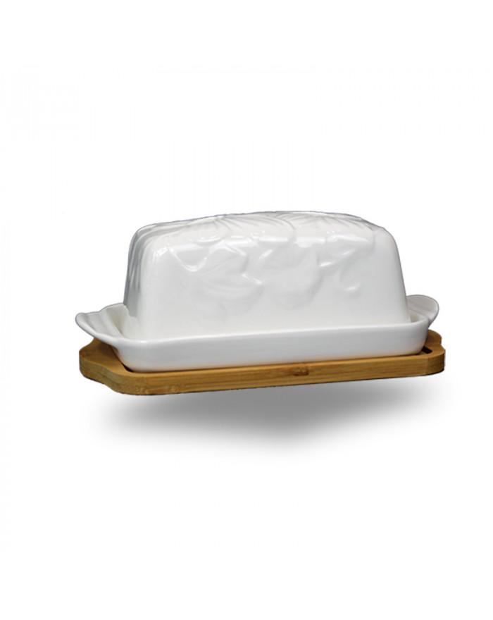 PELIN Porzellan Butterdose + Bambusunterlage (2-tlg.)