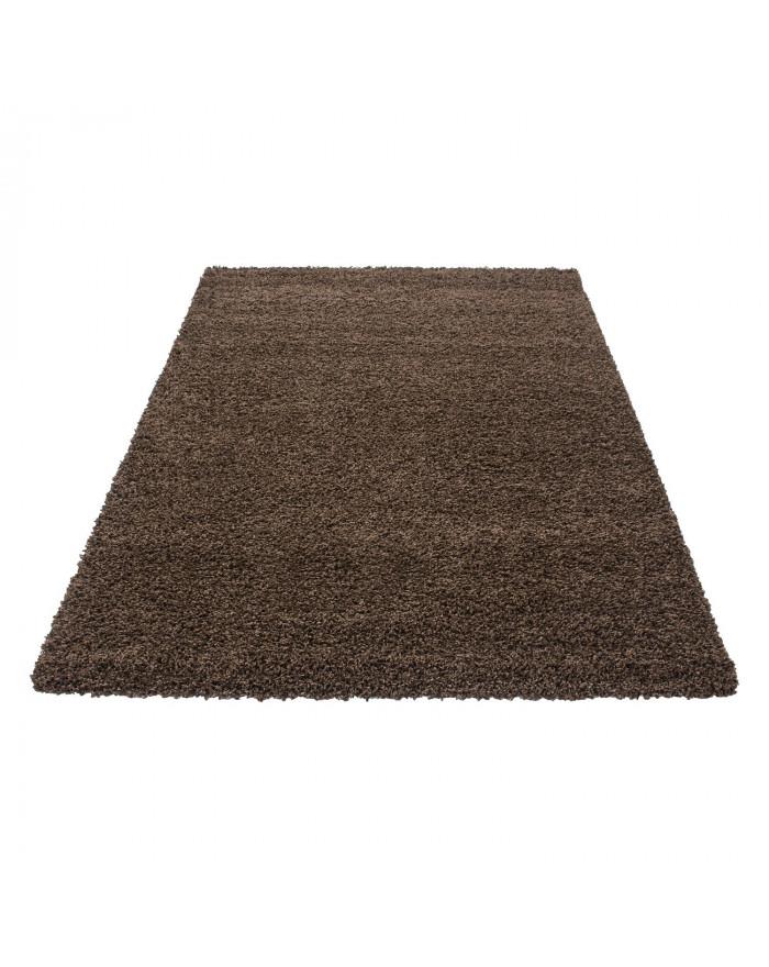 Hochflor Langflor Teppich Shaggy Unifarbe Braun