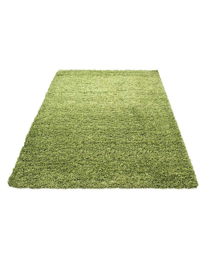 Hochflor Langflor Teppich Shaggy Unifarbe Grün