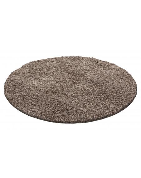Hochflor Langflor Teppich Shaggy Unifarbe Mocca