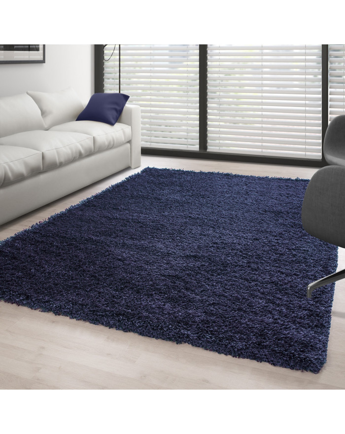 Hochflor Langflor Teppich Shaggy Unifarbe Navy