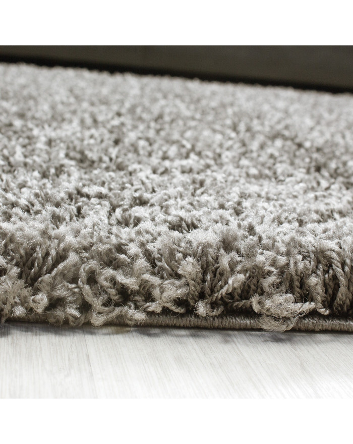 Hochflor Langflor Teppich Shaggy Unifarbe Taupe