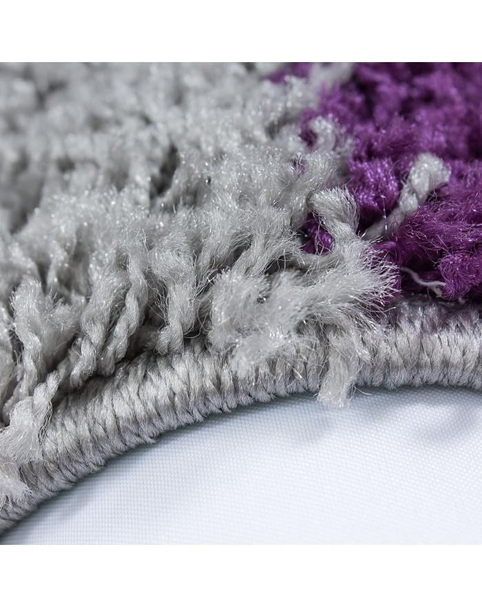 Hochflor Langflor Shaggy Designer Teppich kariert Lila-Weiss-Grau