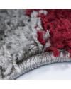 Hochflor Langflor Shaggy Designer Teppich kariert Rot-Weiss-Grau