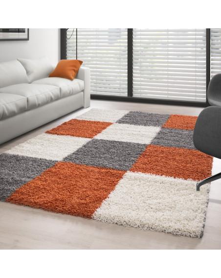 Hochflor Langflor Shaggy Designer Teppich kariert Terrakotta-Weiss-Grau