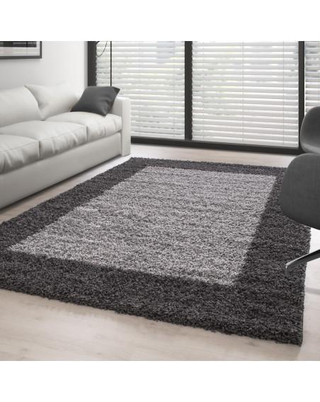 Hochflor Langflor Shaggy Designer Teppich 2 Farbig Grau-Hellgrau