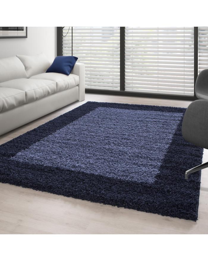 Hochflor Langflor Shaggy Designer Teppich 2 Farbig Navy-Blau