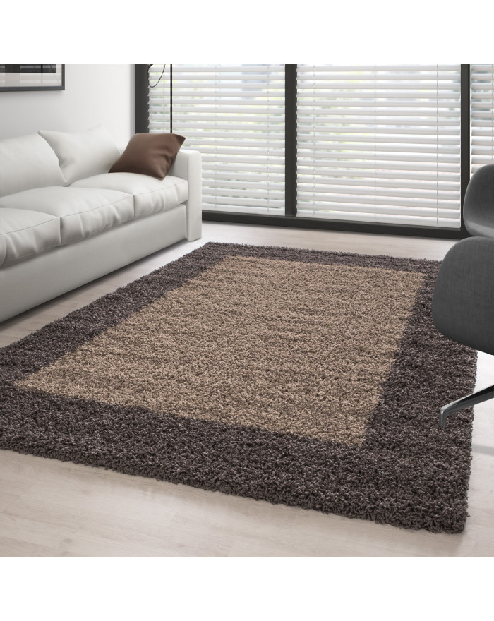 Hochflor Langflor Shaggy Designer Teppich 2 Farbig Taupe-Mocca