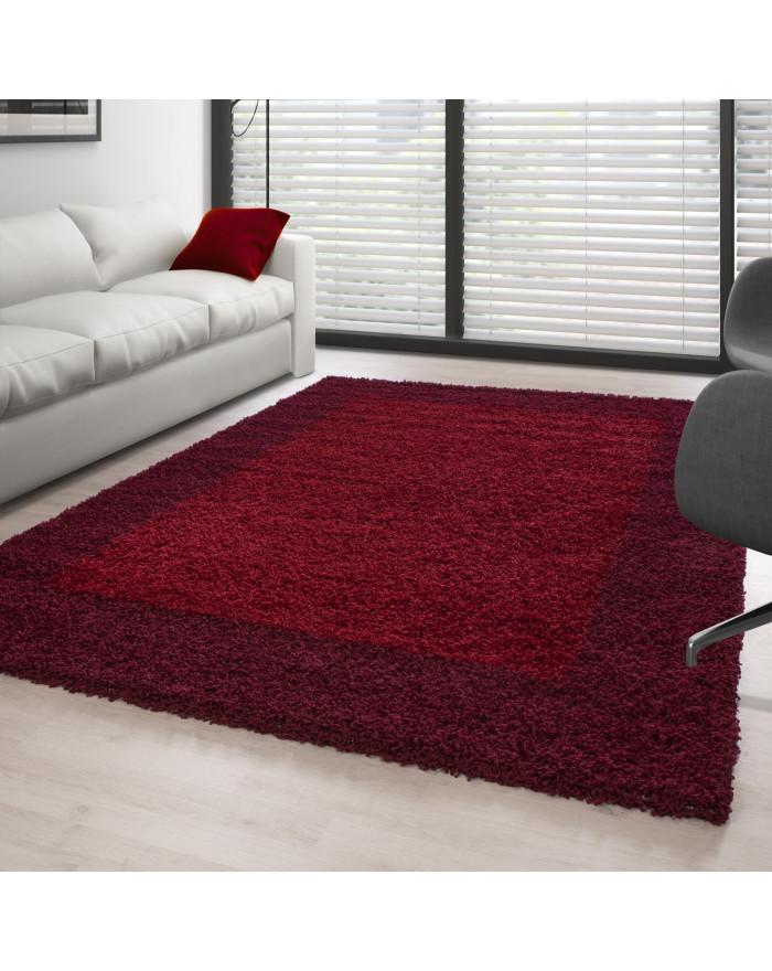 Hochflor Langflor Shaggy Designer Teppich 2 Farbig Rot und Bordeaux