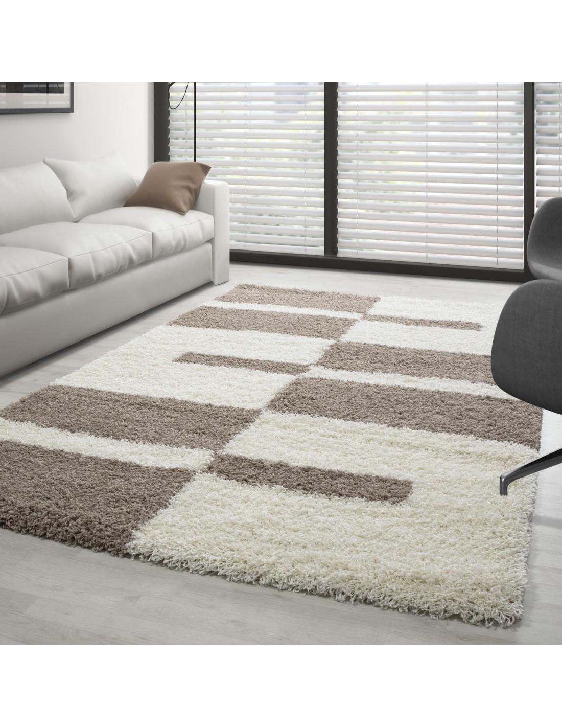 Hochflor Langflor Shaggy Designer Teppich verschiedene Größen Beige