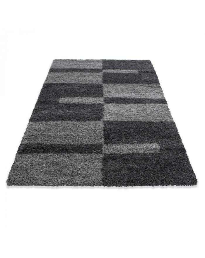 Hochflor Langflor Shaggy Designer Teppich verschiedene Größen Grau-Hellgrau