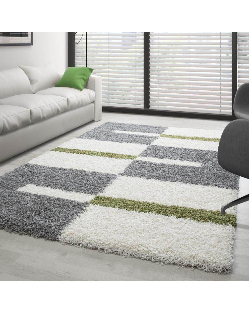 Hochflor Langflor Wohnzimmer Shaggy Teppich Florhöhe 3cm Grau-Weiss-Grün  Größe 60x110 cm