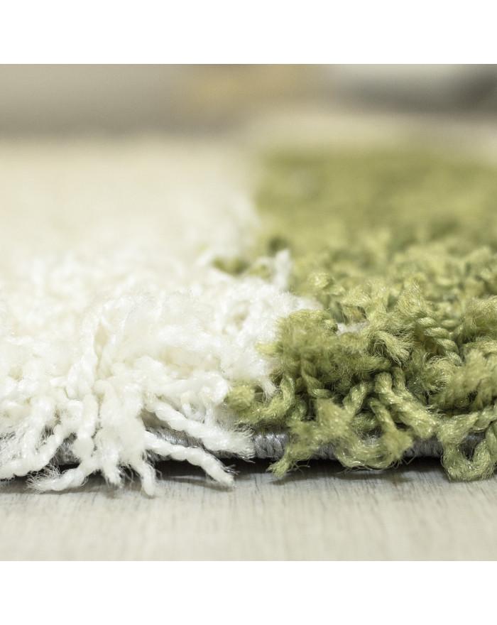 Hochflor Langflor Shaggy Designer Teppich  Grau-Weiss-Grün verschiedene Größen