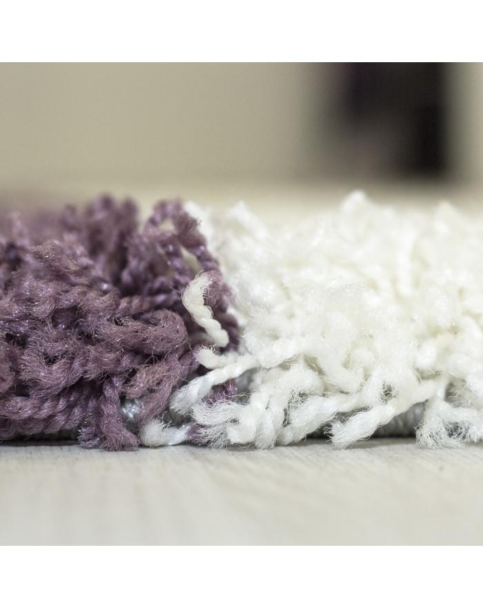 Hochflor Langflor Shaggy Designer Teppich Grau-Weiss-Lila verschiedene Größen