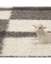 Hochflor Langflor Shaggy Designer Teppich Grau-Weiss-Hellgrau verschiedene Größen