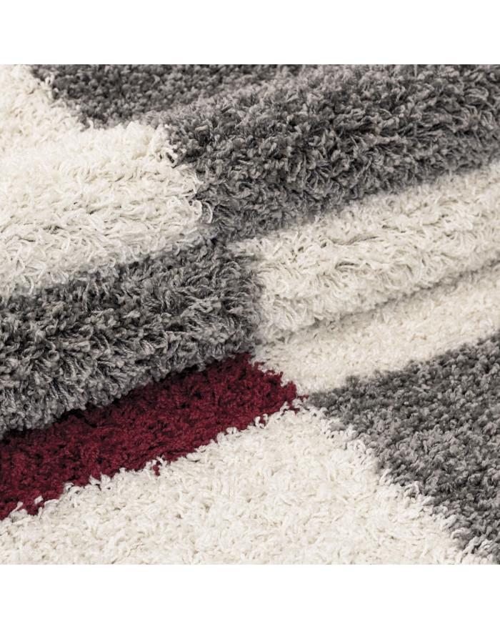 Hochflor Langflor Shaggy Designer Teppich Grau-Weiss-Rot verschiedene Größen