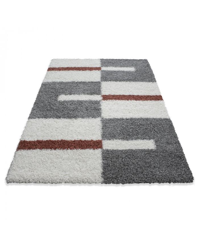 Hochflor Langflor Shaggy Designer Teppich  Grau-Weiss-Terrakotta verschiedene Größen
