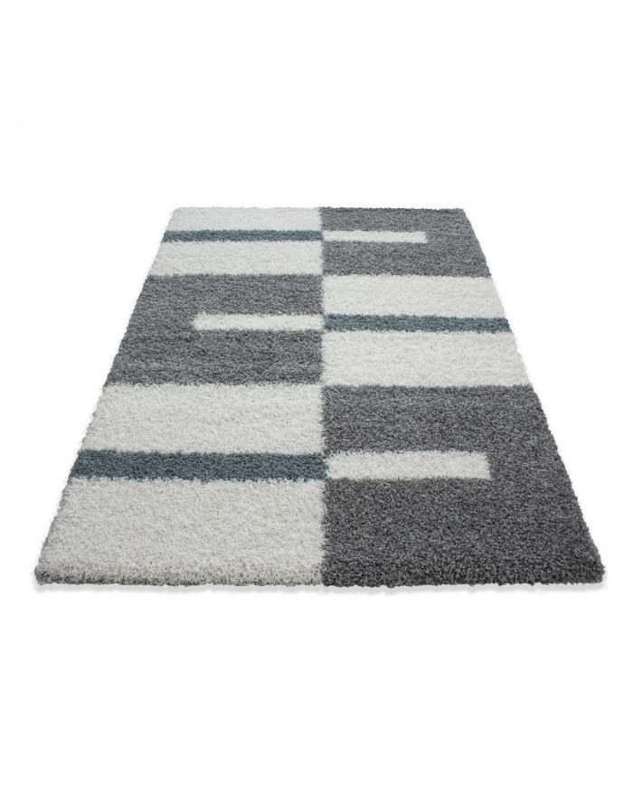 Hochflor Langflor Shaggy Designer Teppich Grau-Weiss-Türkis verschiedene Größen