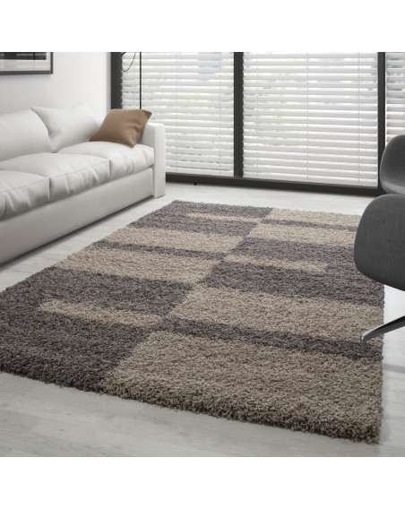 Hochflor Langflor Shaggy Designer Teppich Taupe-Beige verschiedene Größen