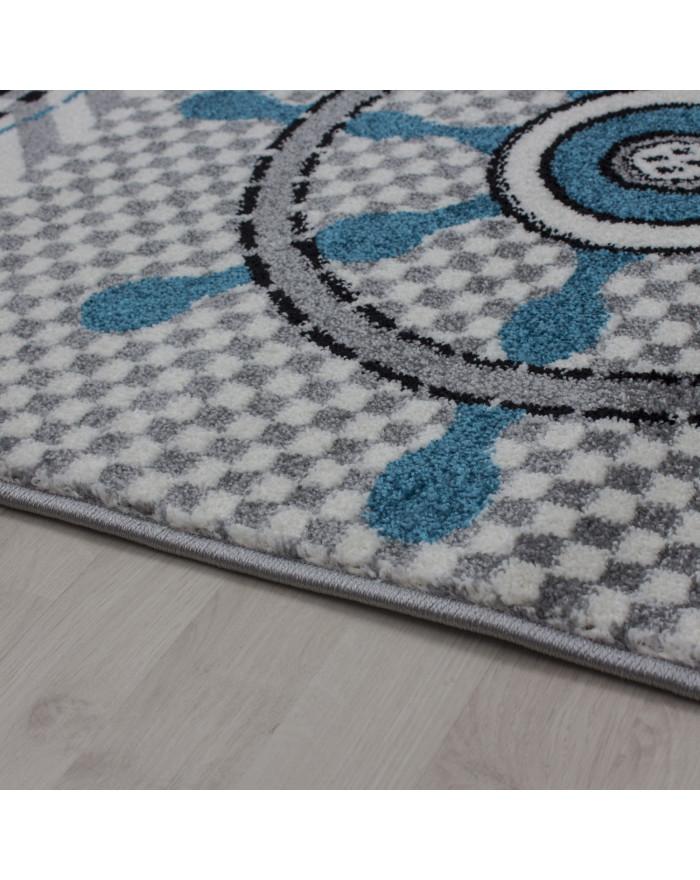 Kinderteppich Kinderzimmer Pirat Muster Kurzflor Pflegeleicht Grau Blau  Weiss