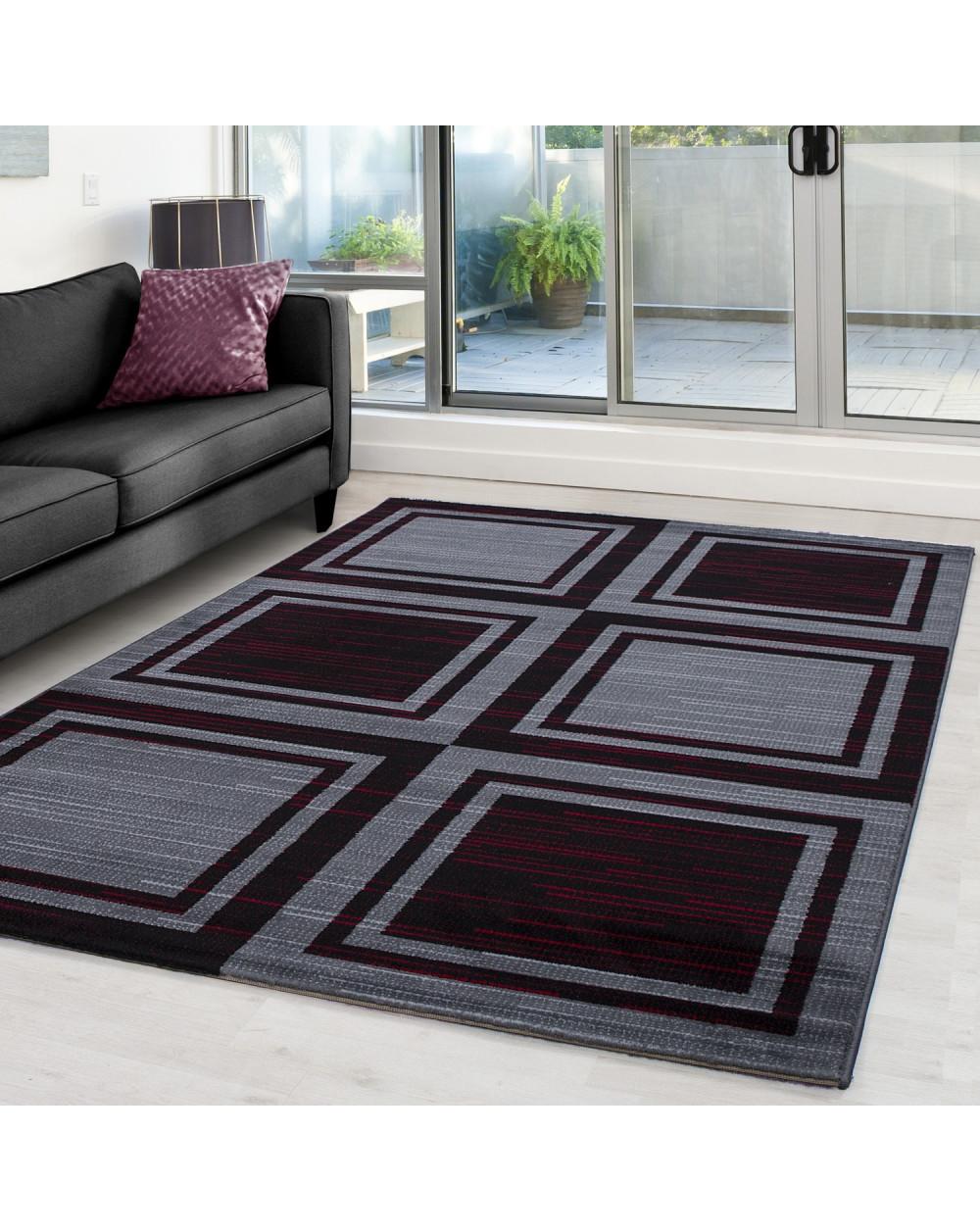 Moderner Designer Teppich mit Blockmuster PARMA 9270 Schwarz-Rot